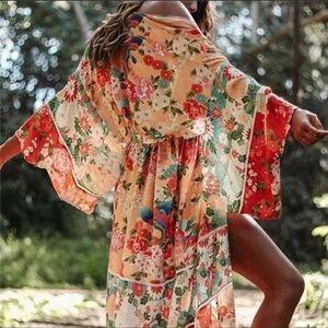 Breathlessly Bohemian Kimono In Wild Pink Blooms